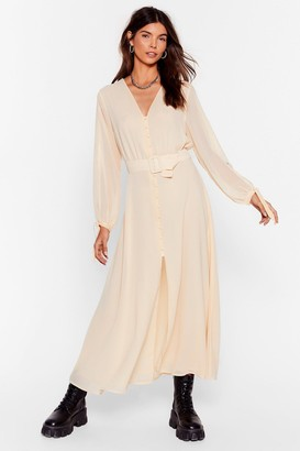Nasty Gal Womens Slit's Gotta Be You Belted Maxi Dress - Cream