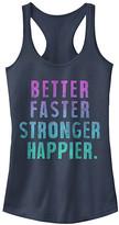 Chin Up Apparel Women's Tank Tops INDIGO - Indigo 'Better Faster Stronger Happier' Slim Fit Racerback Tank - Women