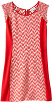 Us Angels Two-Tone Double Knit Raglan Cut Out Sheath (Big Kids)