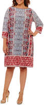 London Times 3/4 Sleeve Medallion Sheath Dress - Plus