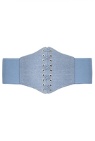 Quiz Blue Denim Stretch Corset Waist Belt