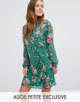 Asos Long Sleeve Ruffle Mini Shift Dress in Floral Print