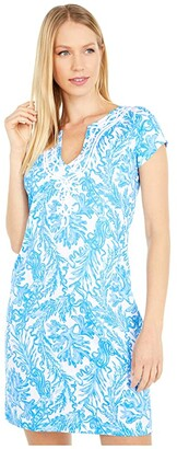 Lilly Pulitzer Brewster Dress (Resort White Aqua Lounge) Women's Clothing