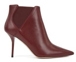 HUGO BOSS High Heeled Ankle Boots In Leather With Elastic Panels - Dark Red