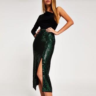 River Island Womens Green sequin embellished midi skirt