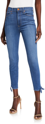 Alice + Olivia Jeans Good High-Rise Ankle-Tie Jeans