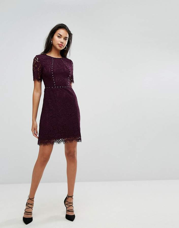 Morgan Allover Lace Fit & Flare Dress With Stud Detail