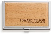 Personalized Planet Card Holders Brown - Brown & Silvertone Personalized Business Card Case