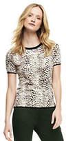 Lands' End Women's Tall Supima Print Jewelneck Sweater-Parchment Leopard Print