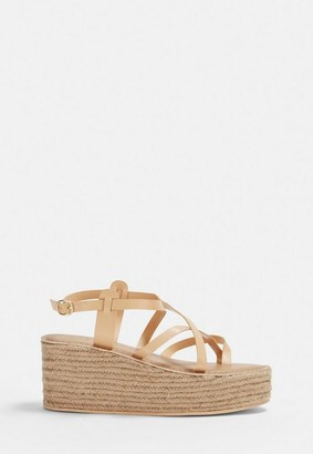 Missguided Nude Toe Post Platform Sandal