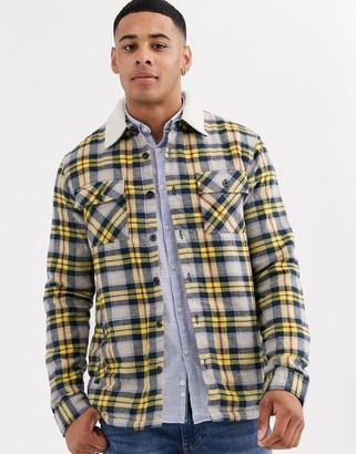 Another Influence regular fit check flannel shirt with fleece lining