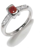 Tatitoto Vintage Women's Ring in 14k Gold with Ruby and Diamond H/SI (total diamonds 0.04 ct), Size 6.5, 4.7 Grams
