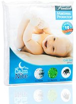 Crib Mattress Pad Protector - Vinyl Free, Hypoallergenic & Waterproof Toddler Bed Cover - Terry Cotton Bassinet Topper - By CalmniteTM