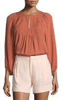 Joie Nanor Bracelet-Sleeve Peasant Top, Terra Cotta
