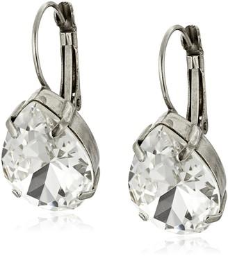 "Sorrelli Clear Crystal"" Classic Teardrop French Wire Drop Earrings"