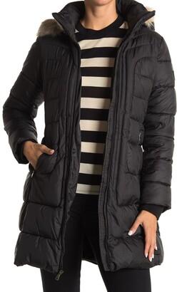 Larry Levine Faux Fur Hood & Faux Shearling Lined Puffer Jacket