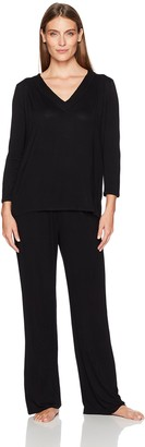 Arabella Women's Long Sleeve Pleated V-Neck Jersey Pajamas