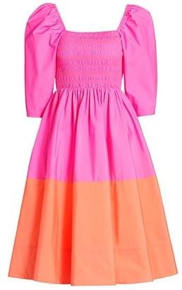 Tanya Taylor Karena Colorblocked Fit-&-Flare Dress
