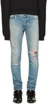 Saint Laurent Blue Skinny Destroyed Jeans