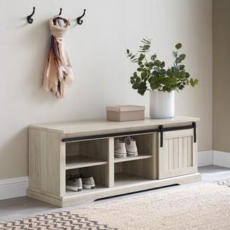 Gracie Oaks Shreffler Shoe Storage Bench Color: Gray Wash