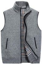Cityelf Men's Oversized Knitted Solid Color Thick Wool Vest Cardigan Sweater MJM0009