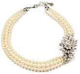 Ben-Amun Pearl Necklace with Crystal Leaf Pendant