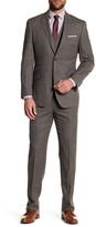 English Laundry Brown Glenplaid Two Button Peak Lapel Wool Trim Fit 3-Piece Suit