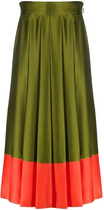 MSGM Contrast-Hem Pleated Midi Skirt