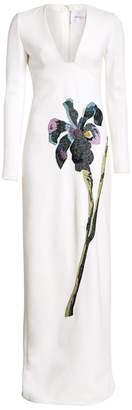 Carolina Herrera Embellished Long-Sleeve Gown