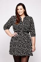Yumi Curves Floral Belted Tunic Dress plus size 18-26 Black