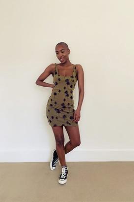 Topshop Khaki Palm Print Tunic Dress