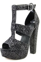 Aldo Agrelilla Women Open Toe Synthetic Black Platform Heel.