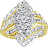 JCPenney FINE JEWELRY 1 CT. T.W. Diamond Cluster 14K Yellow Gold Over Sterling Silver Ring