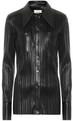 Nanushka Blaine pleated faux leather shirt