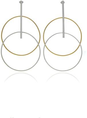 Georgina Jewelry Silver With Gold Two Tone Circle Earrings