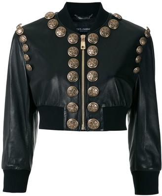 Dolce & Gabbana Button-Embellished Cropped Bomber Jacket