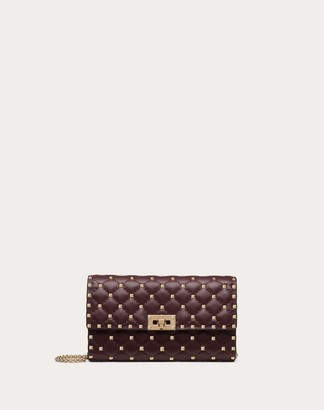 Valentino Rockstud Spike Nappa Leather Crossbody Clutch Bag Women Ruby Lambskin 100% OneSize