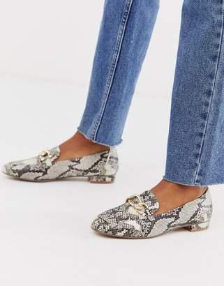 Carvela square toe chain loafer in snake-Multi