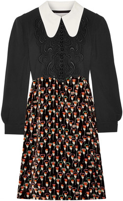 Chloé Embroidered Cady And Printed Velvet Dress