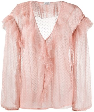 Liu Jo Ruffled Neck Polka Dot Blouse