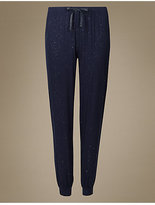M&S Collection All Over Sparkle Cuffed Hem Long Pyjama Bottoms