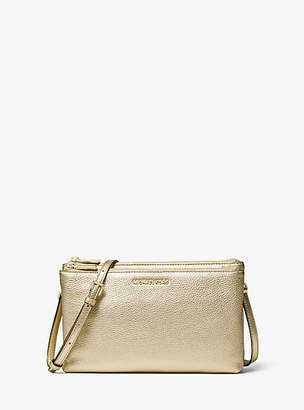 MICHAEL Michael Kors Jet Set Metallic Pebbled Leather Double-Zip Crossbody Bag