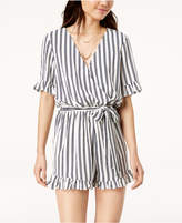 One Clothing Juniors' Ruffled Surplice Romper