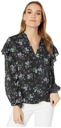 Cupcakes And Cashmere Delia 'Meadow Floral' Ruffle Detail Peasant Top (Night Sky) Women's Clothing