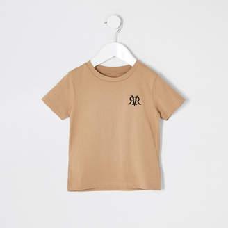 River Island Mini boys stone RVR embroidered T-shirt