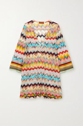 Missoni Mare Lace-up Crochet-knit Kaftan - Yellow