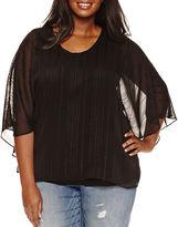Boutique + + Long Sleeve Scoop Neck Rayon Blouse-Plus