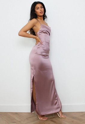 Missguided Tall Mauve Satin Strappy Back Maxi Dress