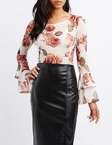 Charlotte Russe Floral Mesh Bell Sleeve Bodysuit