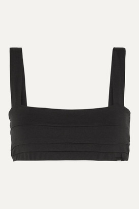 LÉ BUNS Gia Set Of Two Pleated Stretch-organic Cotton Soft-cup Bras - Black
